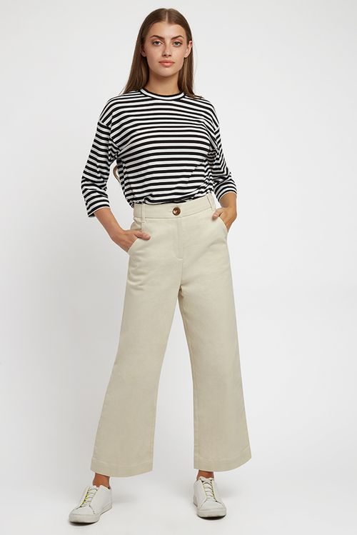 Louche Tim Twill Cropped Trouser Cream