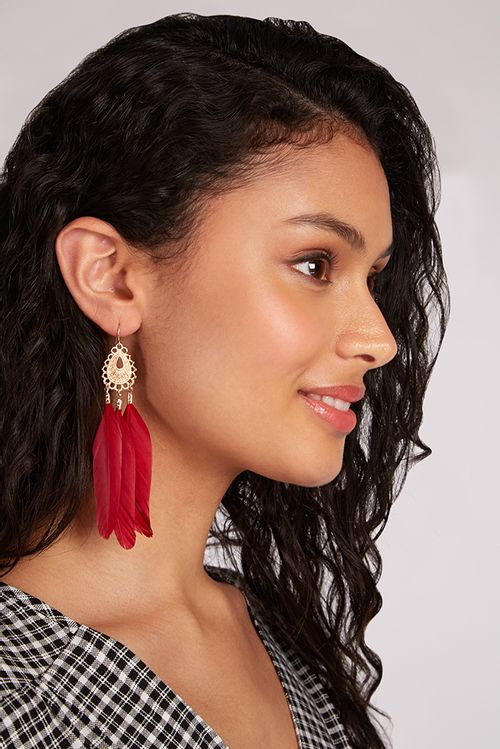 Louche Serena Statement Feather Drop Earrings