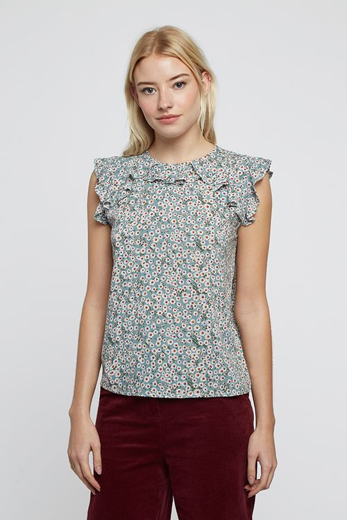 Louche Valentina Aster Printed Frill Top Mint