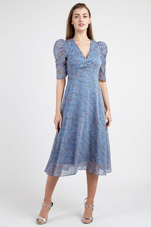 Ruched Front Midi Dress Blue