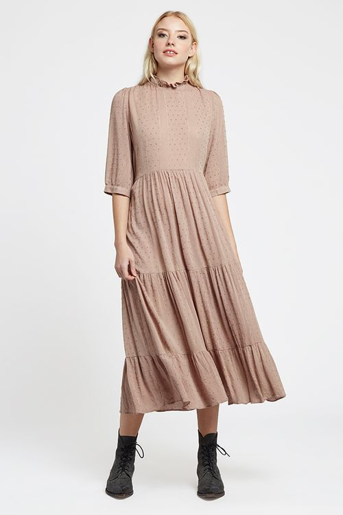 Louche Piper Dobby Lurex Tiered Midaxi Dress Pink