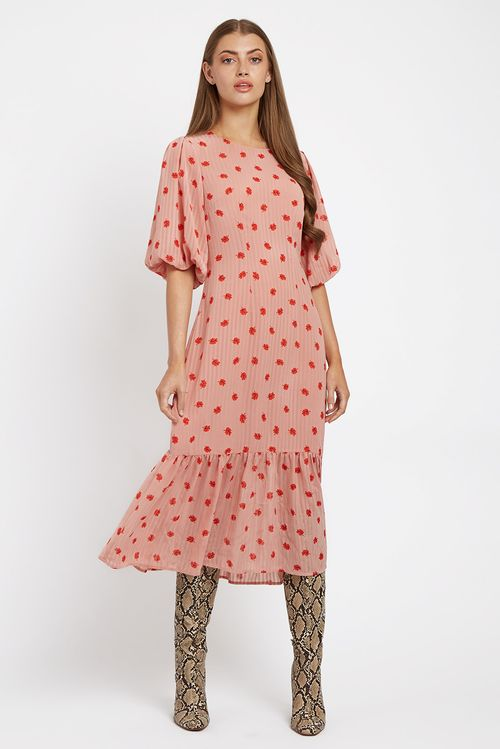 Zeyneb Oakleaf Midi Dress Pink