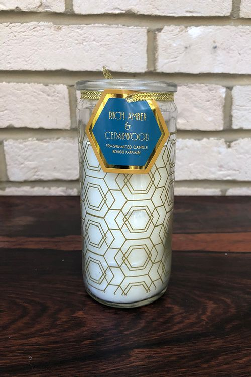 Amber And Cedarwood Geometric Printed Glass Candle