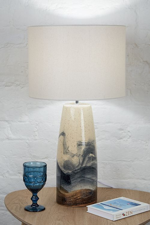 Hand Painted Speckle Lamp With Shade