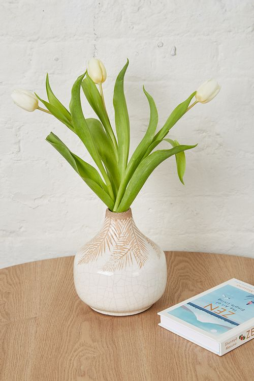 Large Cream Palm Print Vase