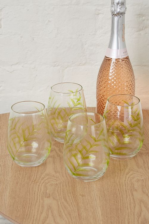 Set Of 4 Leaf Design Glasses