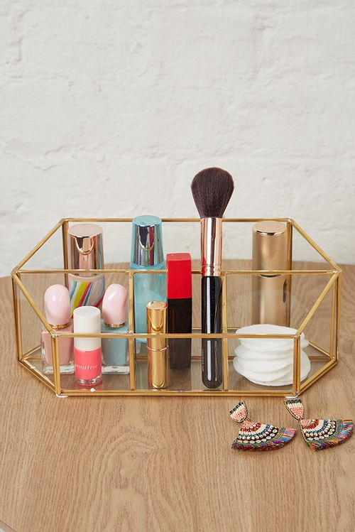 Glass And Gold Trim Dressing Table Tidy