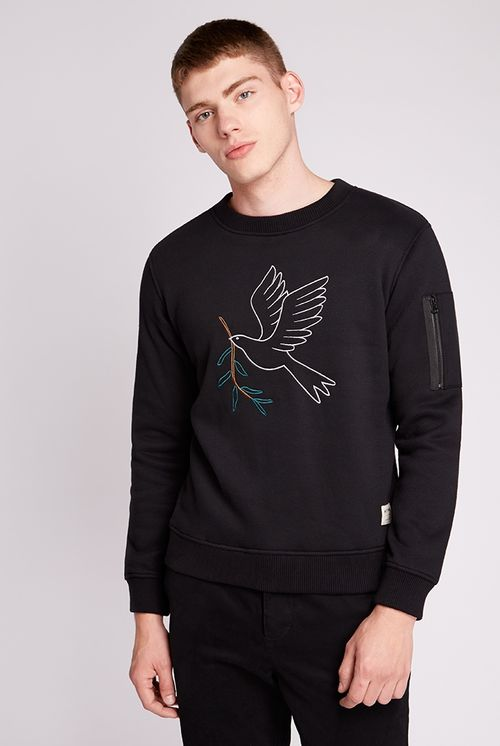 Hymn Embroidered Peace Dove Sweat Black