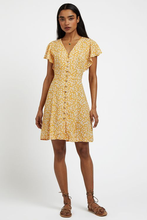Louche Philadelphia Marigold Mini Dress Mustard