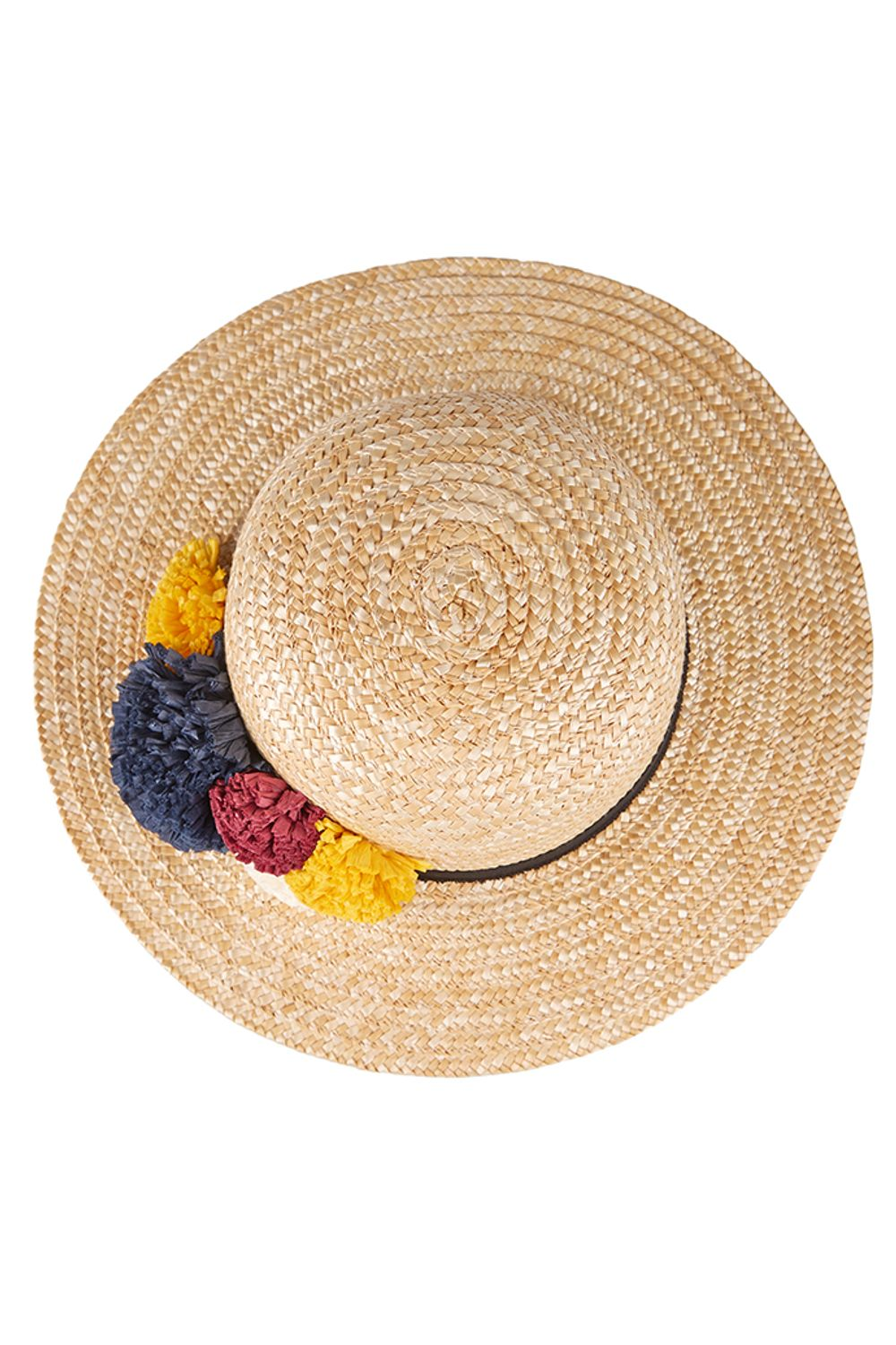 Louche Louise Straw Boater With Raffia Pom
