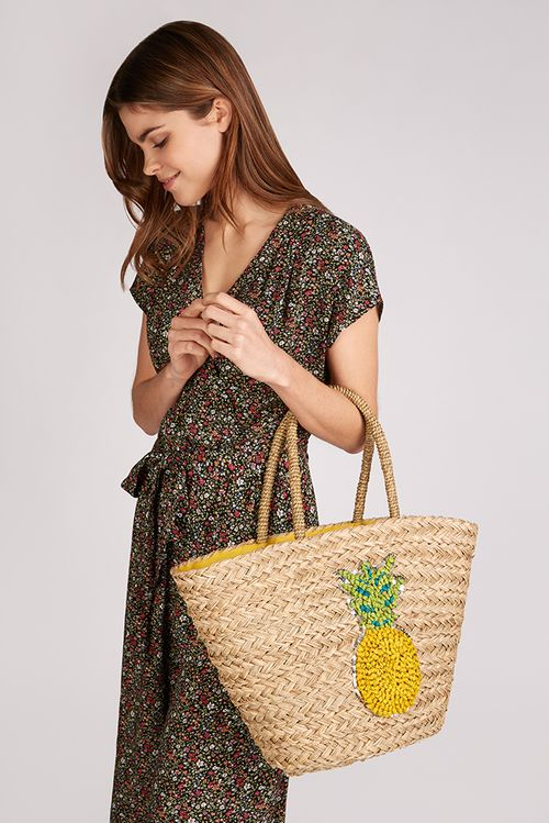 Louche Tilde Straw Bag With Pineapple