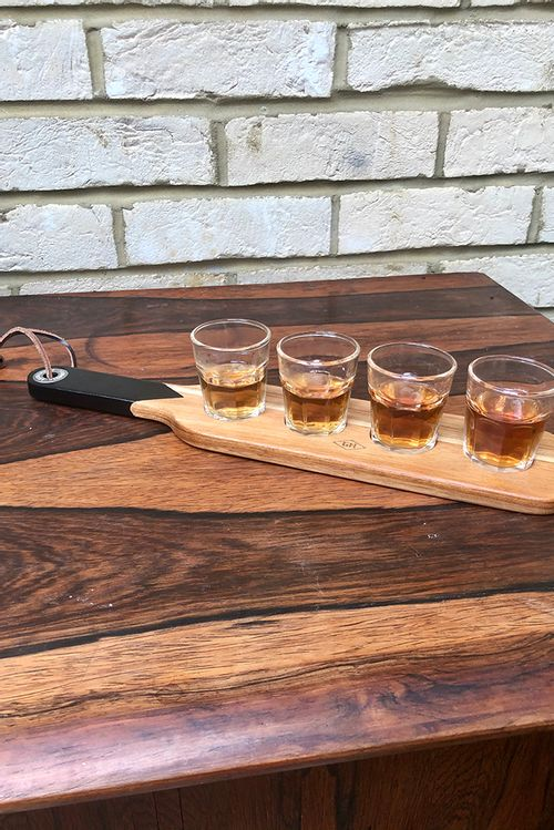 Serving Paddle With 4 Shot Glasses