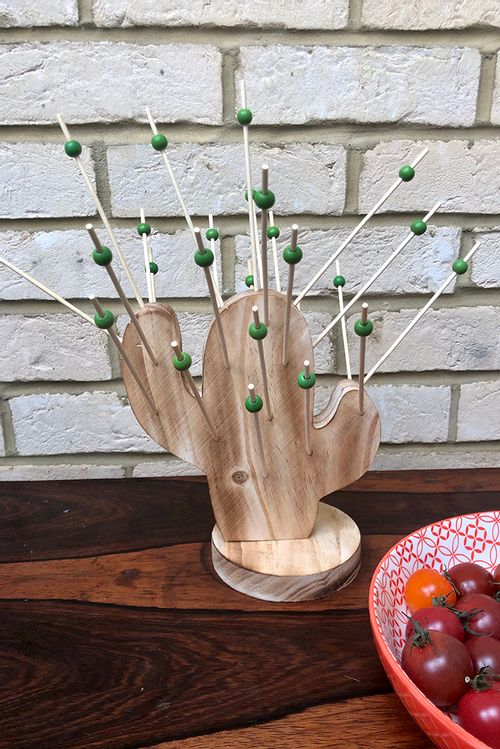 Retro Style Wooden Cactus Hors D'Oeuvre Holder