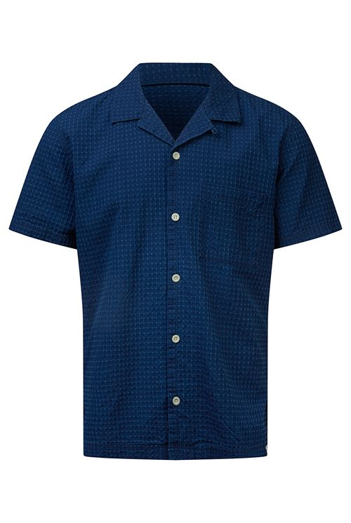Hymn Frisbee Textured Resort Shirt Indigo