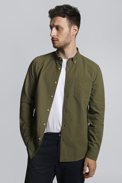 Hymn Grass Seersucker Shirt Khaki