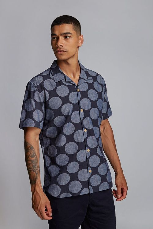 Hymn Printed Spot Resort Shirt Indigo
