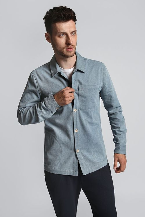 Hymn Chimenia Bleached Denim Overshirt Blue