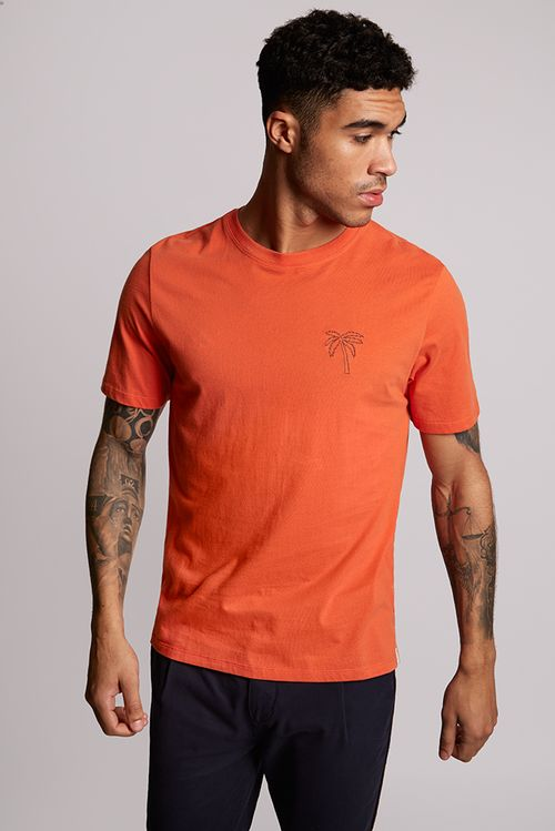 Hymn Climbing Embroidery Tee Shirt Orange