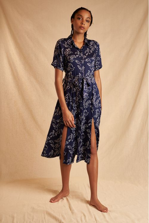 Louche Sustain Cypress Birds In Flight Shirt Dress Navy
