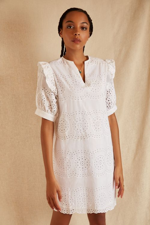 Louche Sustain Margosa Broderie Dress White