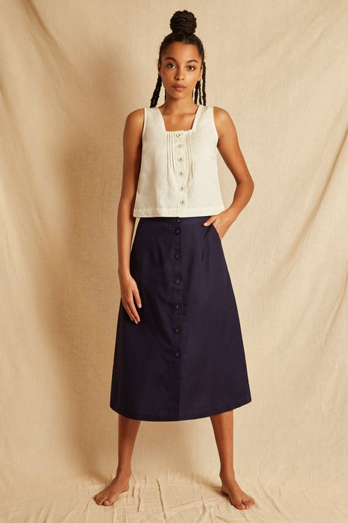 Louche Sustain Oriel Skirt Navy