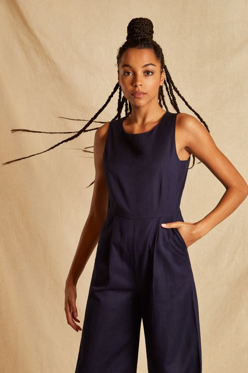 Louche Sustain Tansy Jumpsuit Navy
