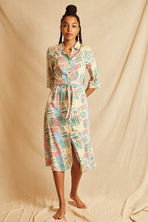 Louche Sustain Terra Painted Patchwork Dress Multi