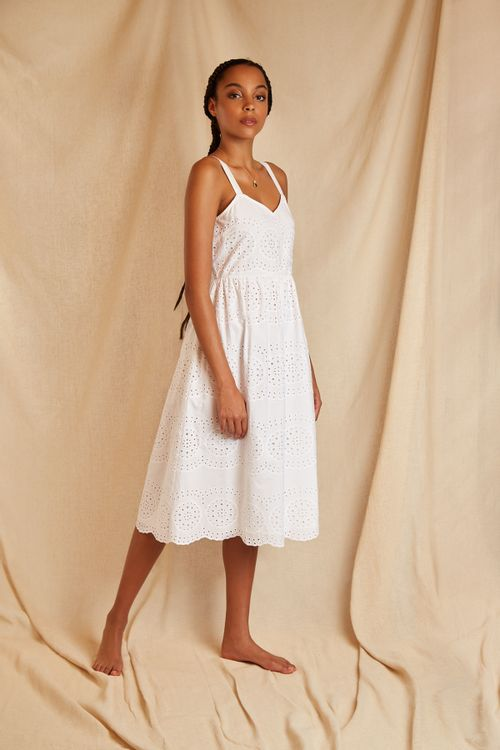 Louche Sustain Vaila Broderie Dress White