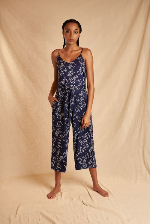 Louche Sustain Calla Birds In Flight Cropped Jumpsuit Navy