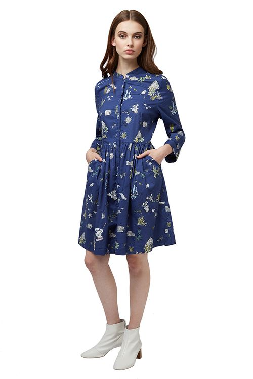 Louche Lilia Holiday Concealed Button Shirt Dress Navy