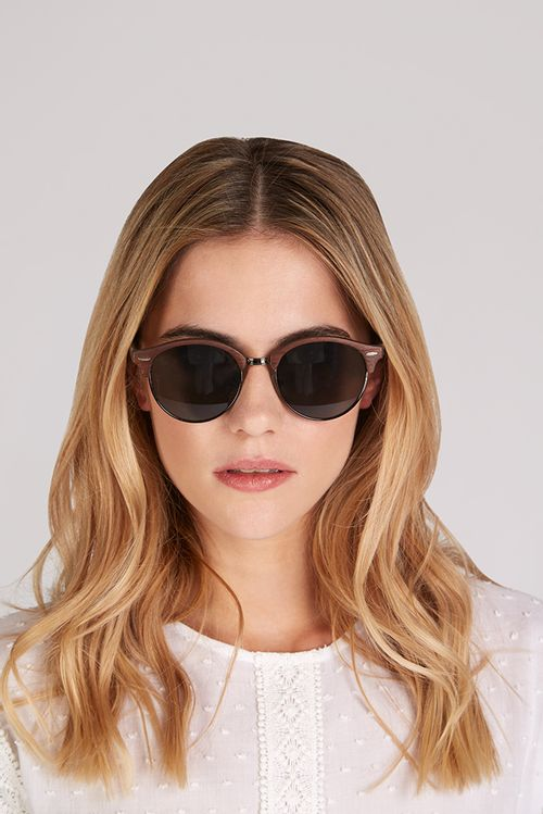 Louche Katy Wooden Sunglasses Brown