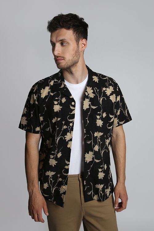 Hymn Shade Abstract Floral Seersucker Resort Shirt Black
