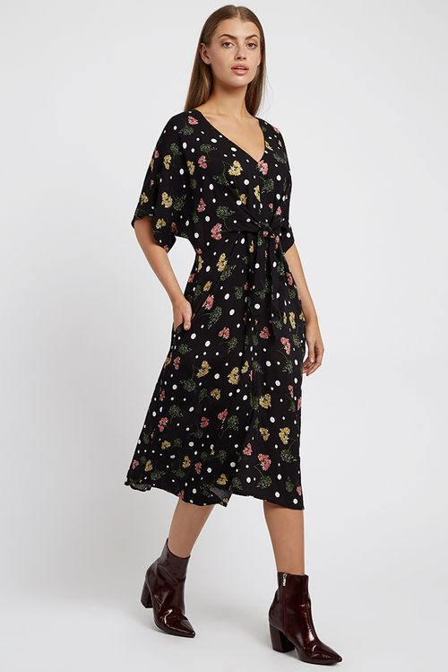 Louche Elody Elderflower Midi Dress Black