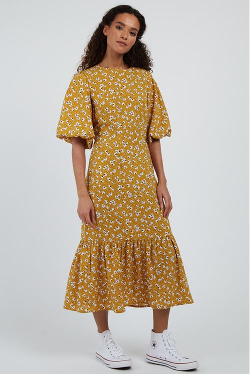 Louche Zeyneb Petal Dot Midi Dress Mustard