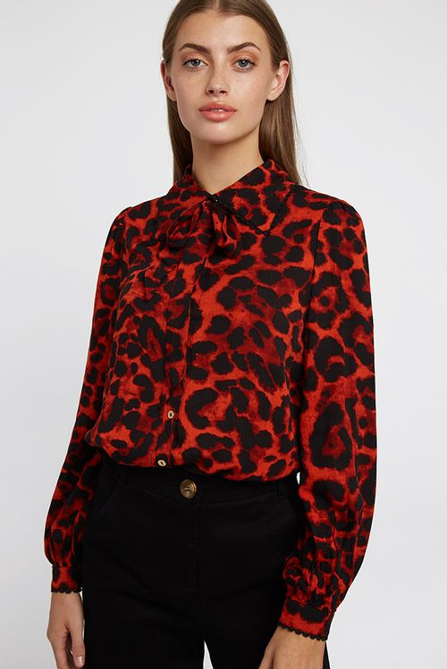 Louche Michaela Leopard Blouse Red
