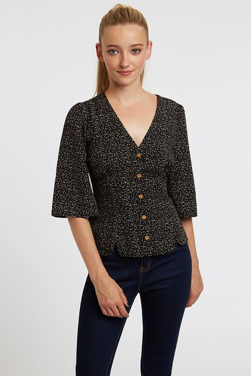 Louche Edna Dash Blouse Black