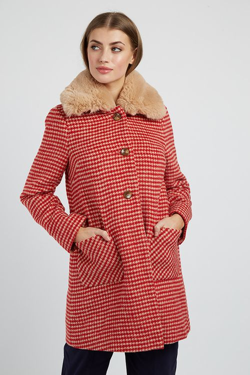 Louche Dryden Dogstooth Coat Red