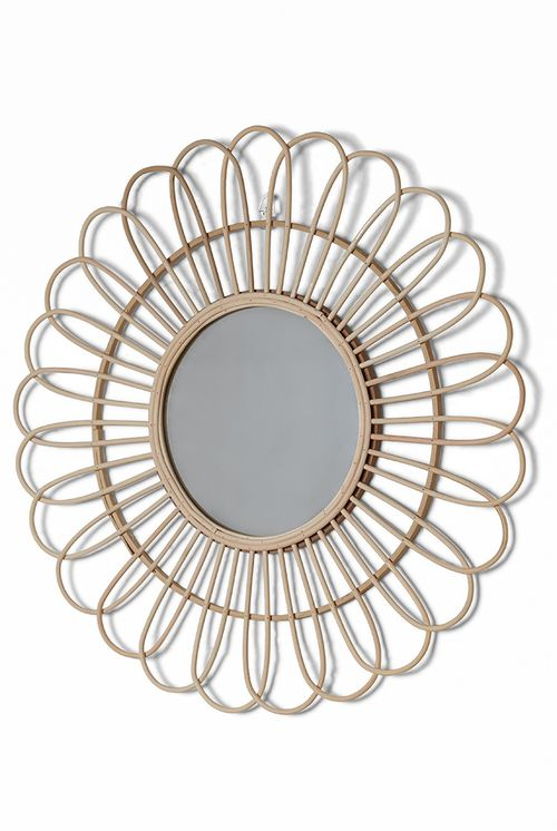 Round Bamboo Decorated Wall Mirror