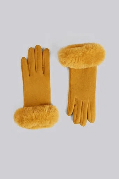 Louche Jade Faux Suede And Fur Cuffed Touch Screen Glove Mustard