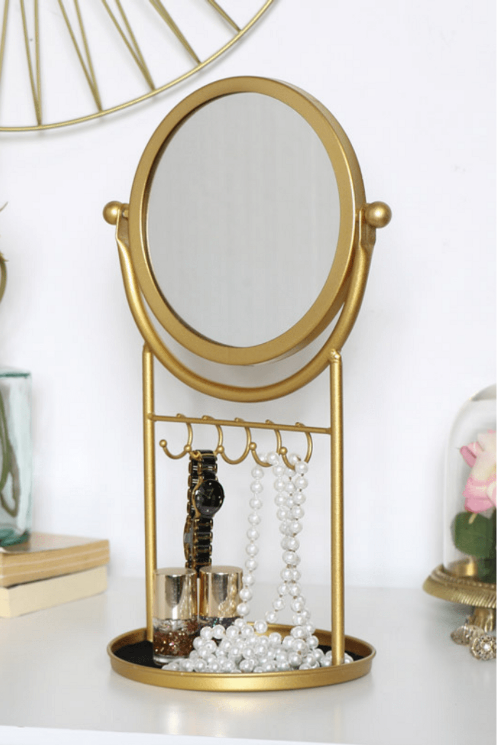 Gold Round Mirror And Jewellery Stand Multi  JB0951