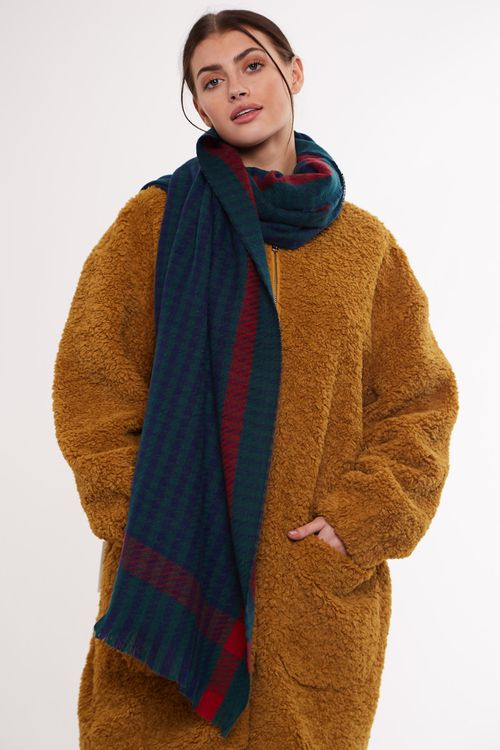 Louche Sidney Check Woven Scarf Green