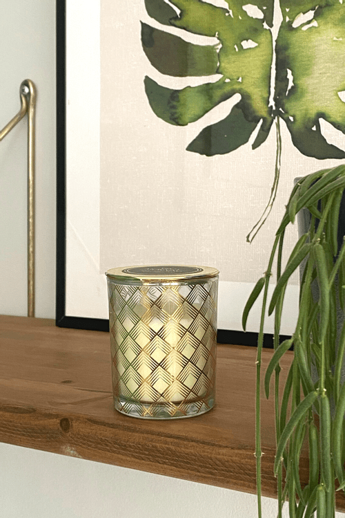 6X7Cm Gold Geometric Deco Candle Geo  CD5989