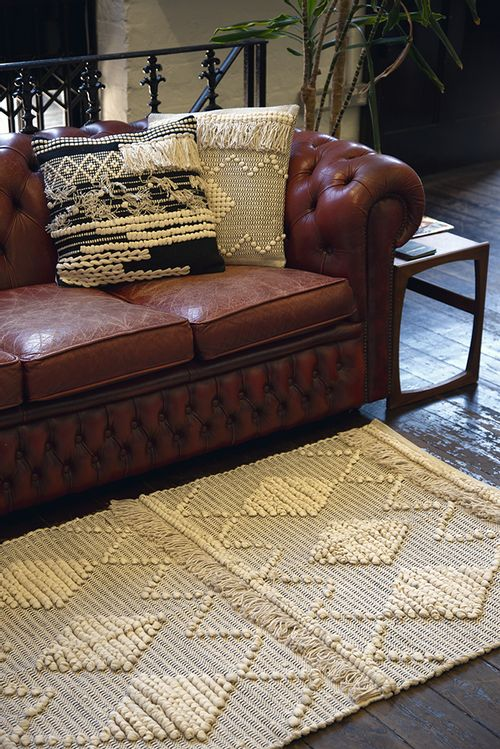 Berber Style Diamond Rug Cream