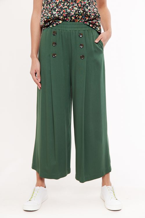 Louche Laurena Wide Leg Cropped Trouser Green