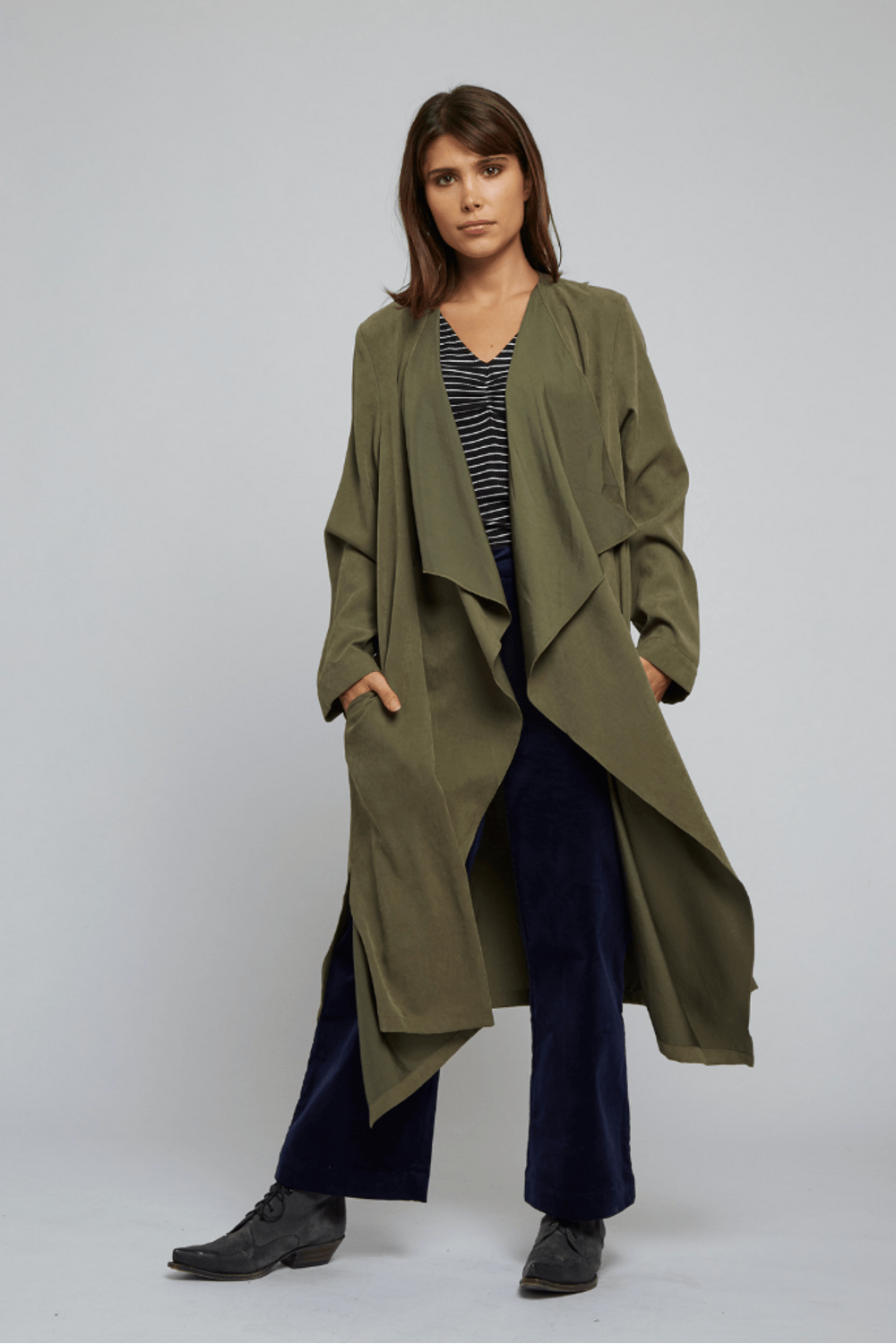 Louche Withney Waterfall Soft Trench Coat Khaki