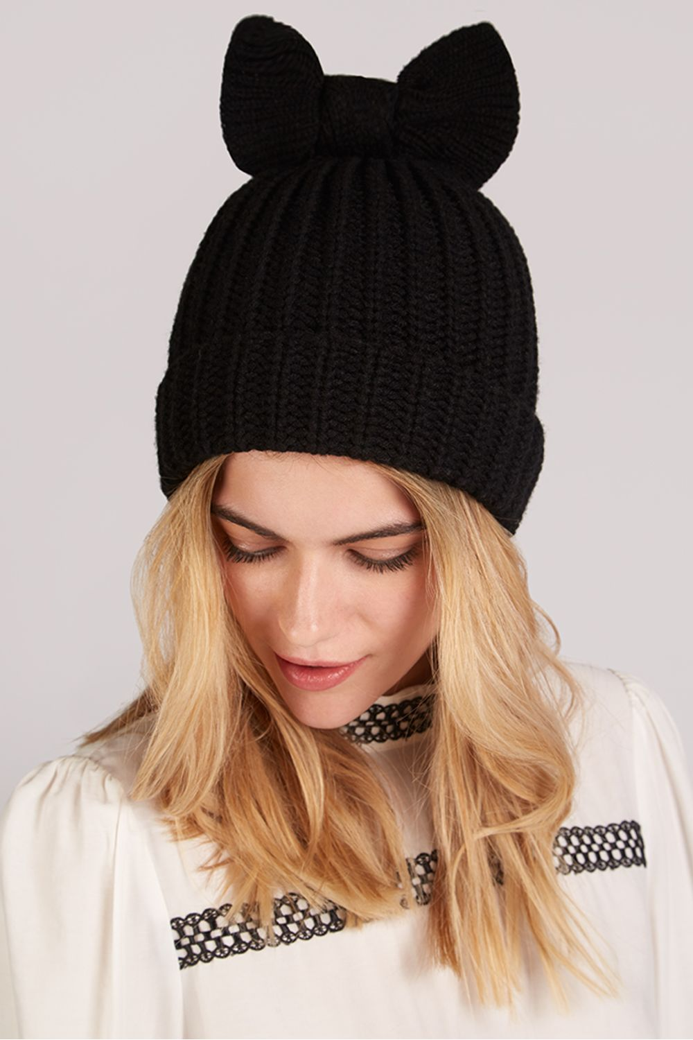 Louche Everly Knitted Beanie With Bow Black