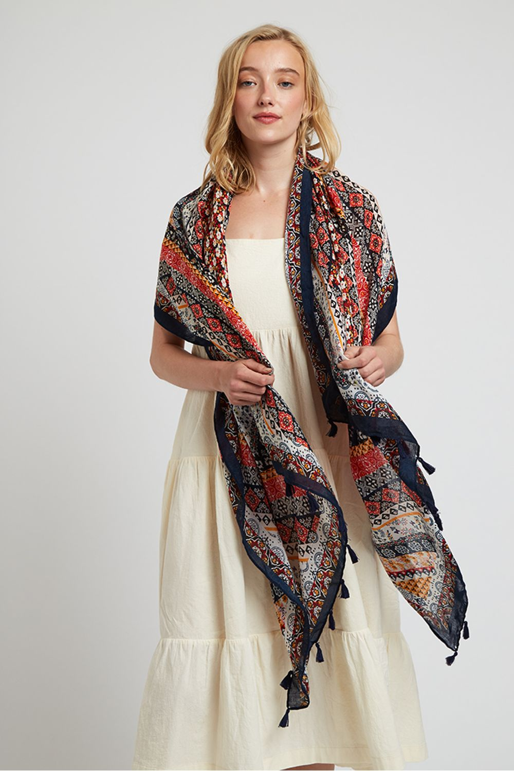 Louche Weston Boho Floral Red And Navy Scarf