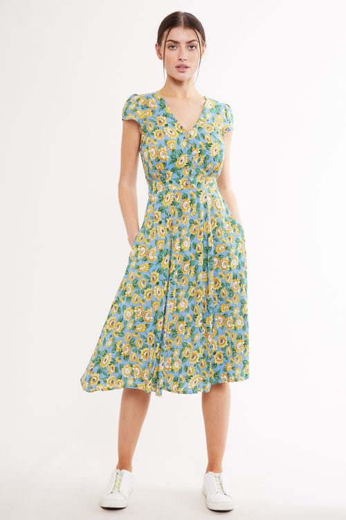 Louche Cathleen Midi Sunflower Tea Dress Blue