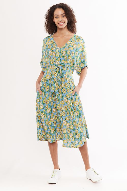 Louche Elody Sunflower Tie Waist Midi Dress Blue