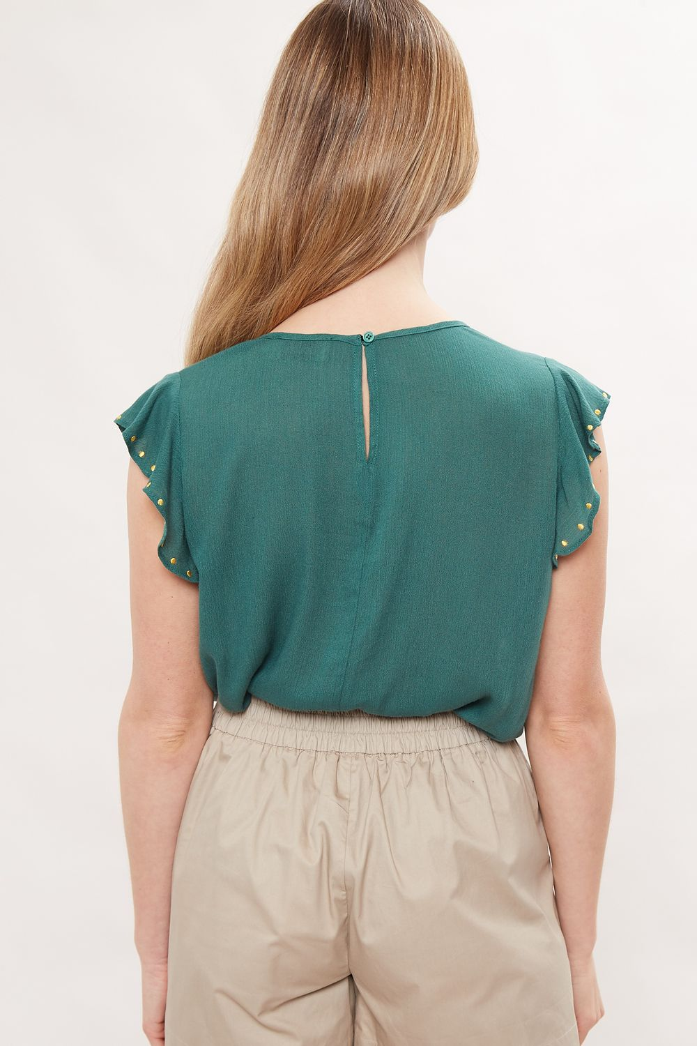 Louche Yamine Embroidery Frill Sleeve Top Green